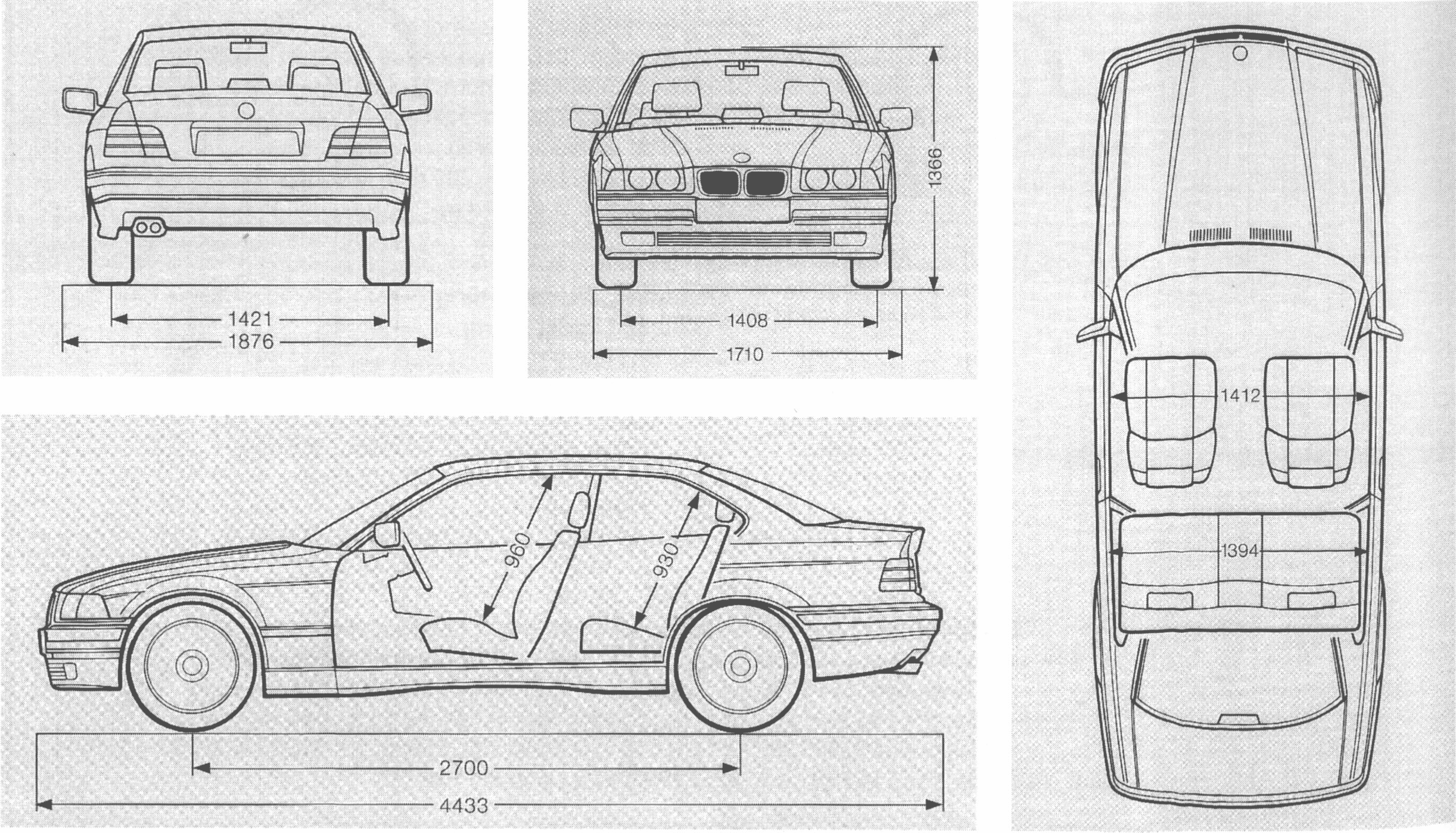 Dimensions Of Bmw E36 Body And Parts Dimension Tables
