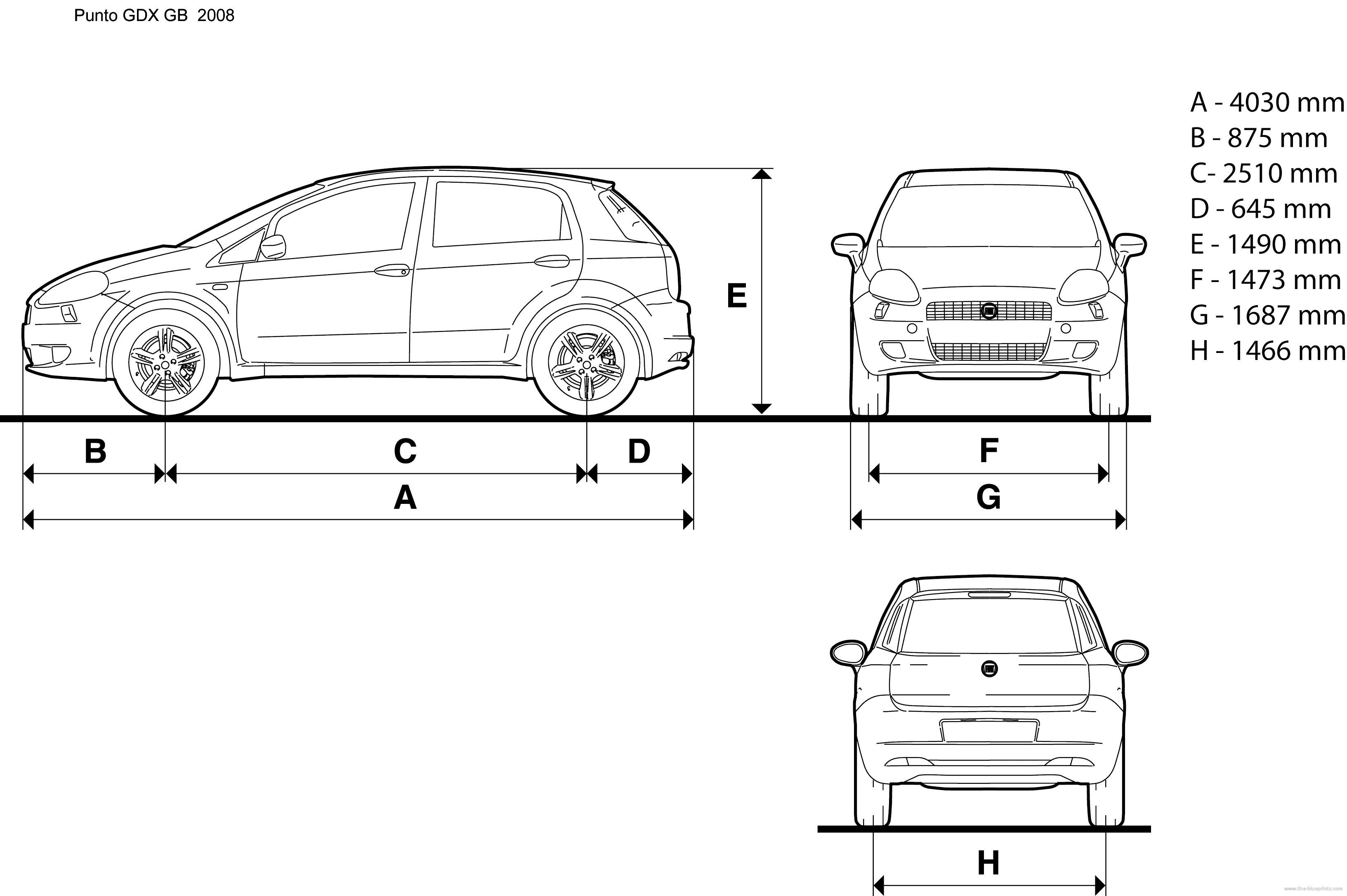 Body Dimensions Of Fiat Grande Punto Dimension Tables