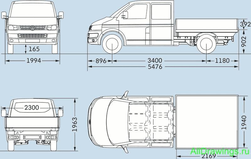 Фольцваген транспортер длина купить т5 транспортер в брянске